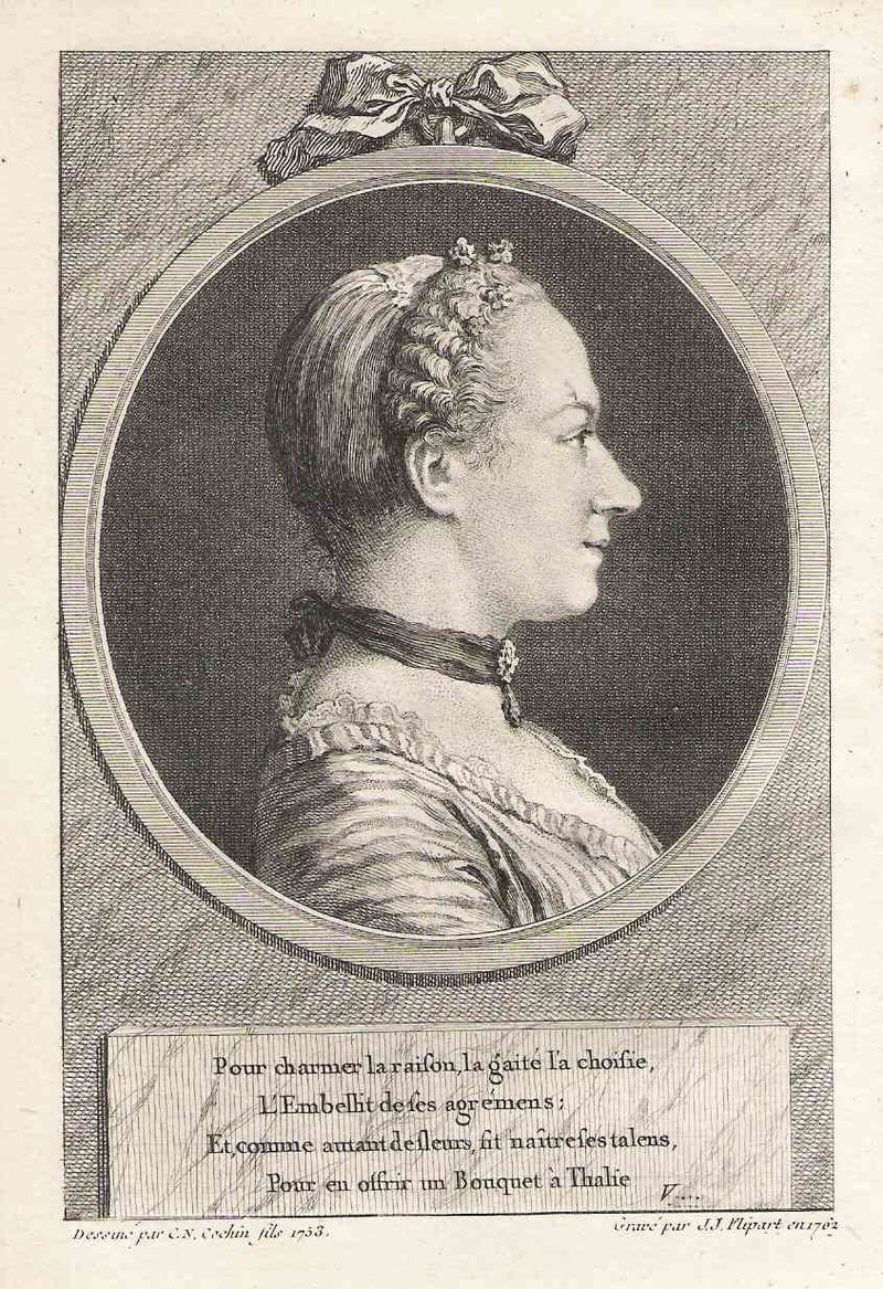 Portrait of Marie Favart (1727-1772), frontispice du Théâtre de M. Favart, Paris, Duchesne, tome V, 1763.