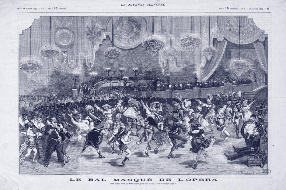 """""""Le Bal masqué de l'opéra,"""" caricature from """"Le Journal Illustré,"""" 28 January 1877. (Bibliothèque-Musée de l'Opéra)"""