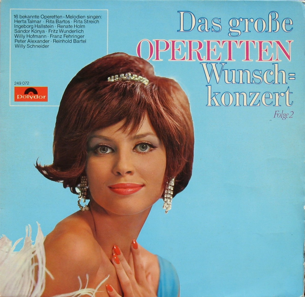 "A typical ""camp"" Polydor LP cover from the 1970s entitled ""Das große Operetten-Wunschkonzert,"" featuring an anonymous lady wearing a tiara. (Photo: Bert-Jan van Egteren record collection)"