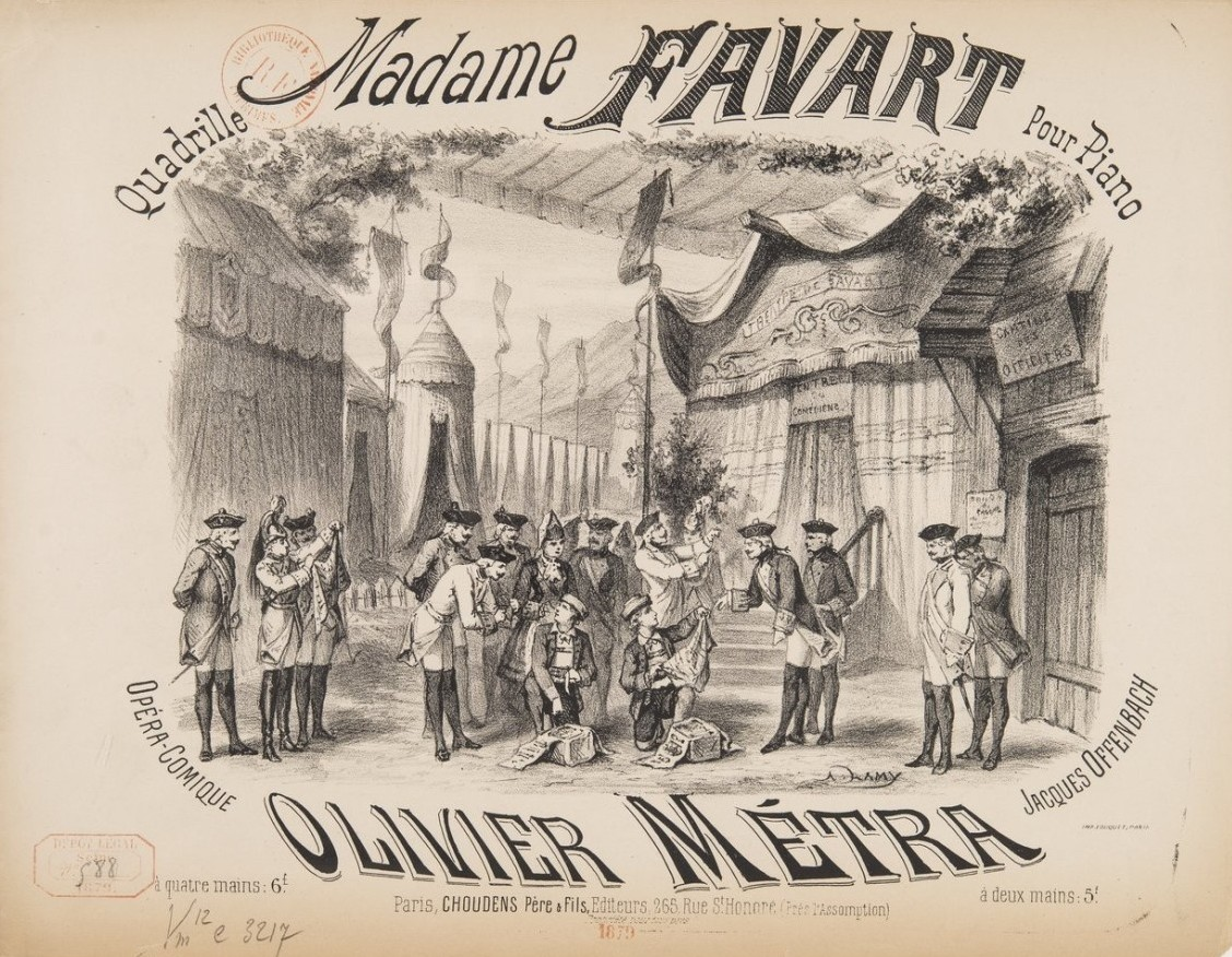 "Sheet music cover for Offenbach's ""Madame Favart."""