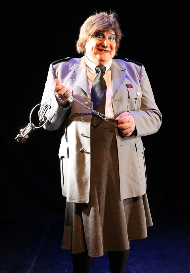"""John Linehan as his alter ego May McFettridge in his role as Frosch in Opera Northern Ireland's production of """"Die Fledermaus"""" at The Grand Opera House, Belfast with the Ulster Orchestra, 2019. (Photo: Opera Northern Ireland)"""
