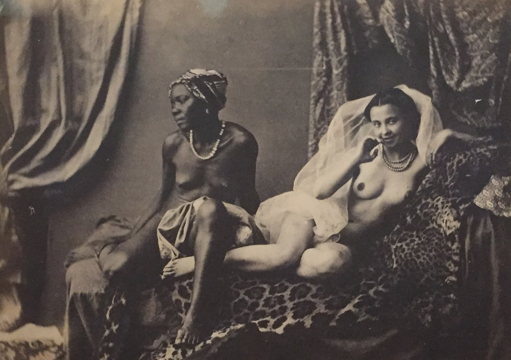"Black prostitutes shown in Félix-Jacques Moulins ""Études photographiques: l'Odalisque et son esclave,"" 1853."