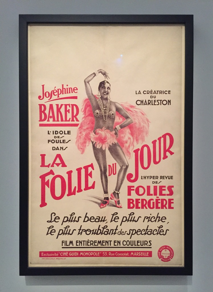 Josephine Baker shown on a poster of the Folies Bergére in Paris.