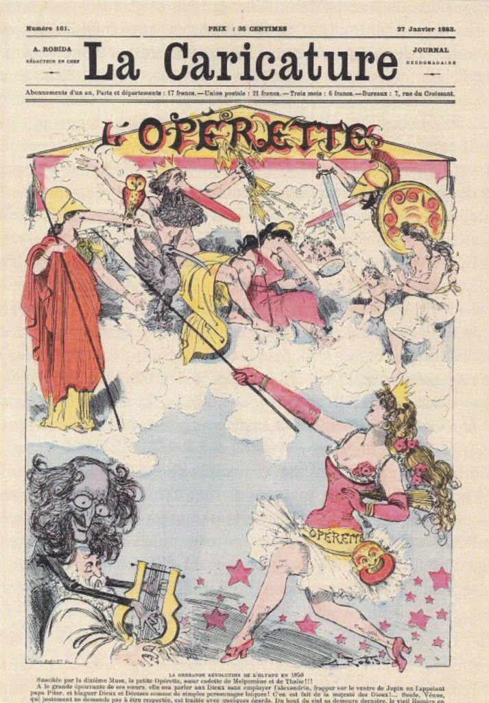 "The cover of ""La Caricature"" from January 1883, celebrating 25 years of ""Orphée aux enfers."""