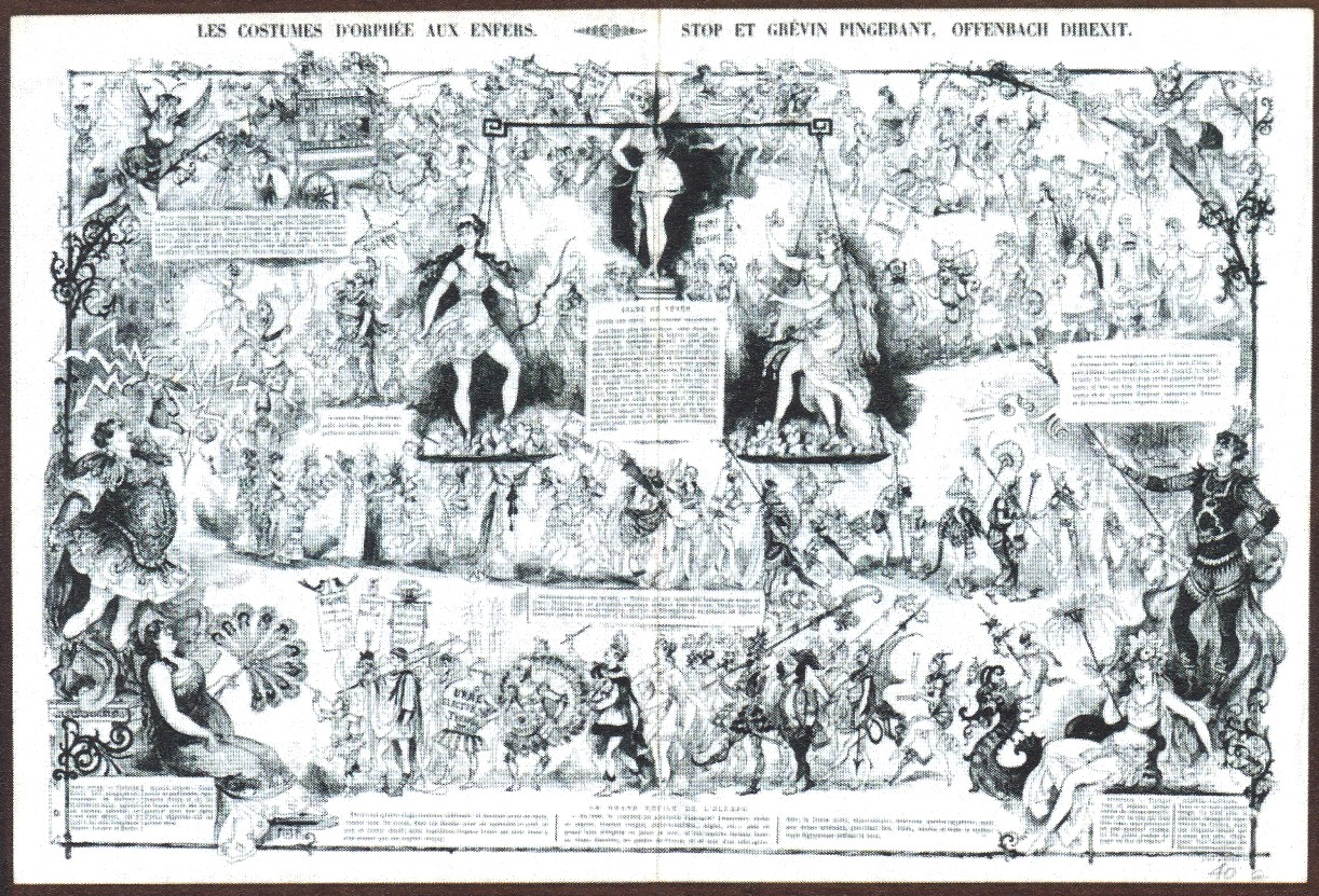 "A page by Robida showing scenes from the expanded ""Orphée aux enfers"" production, it appeard in February 1874 in ""La Vie parisienne."""
