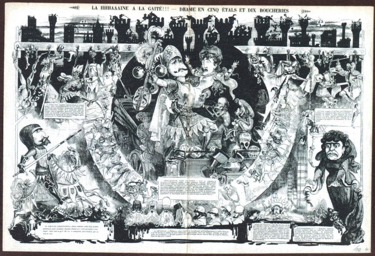 "A drawing by Robida showing scenes from the ""La Haine"" production, as seen in ""La Vie parisienne"" in December 1874."