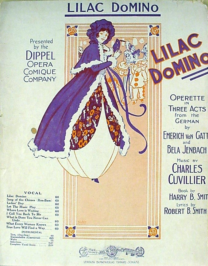 "Sheet music cover for Charles Cuvillier's ""Lila Domino."""