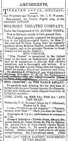 "A newspaper clipping announcing the Belfast production of ""Kissi, Kissi; or: The Pa! The Ma! And the Shah!"" in 1873."