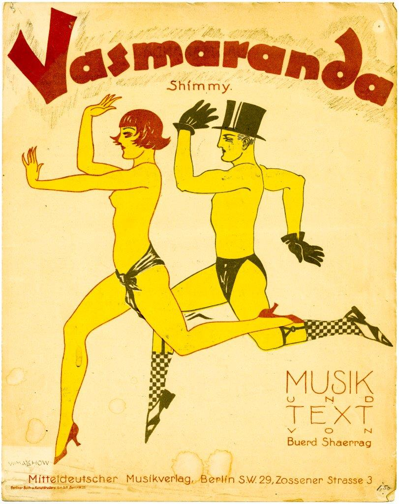 "Sheet music cover for the shimmy ""Vasmaranda,"" illustrating new body ideals. (Photo: Evelin Förster Collection)"