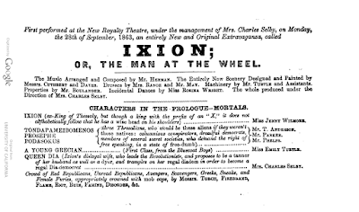 "The cast list for the original ""Ixion; Or: the Man at the Wheel"" production."