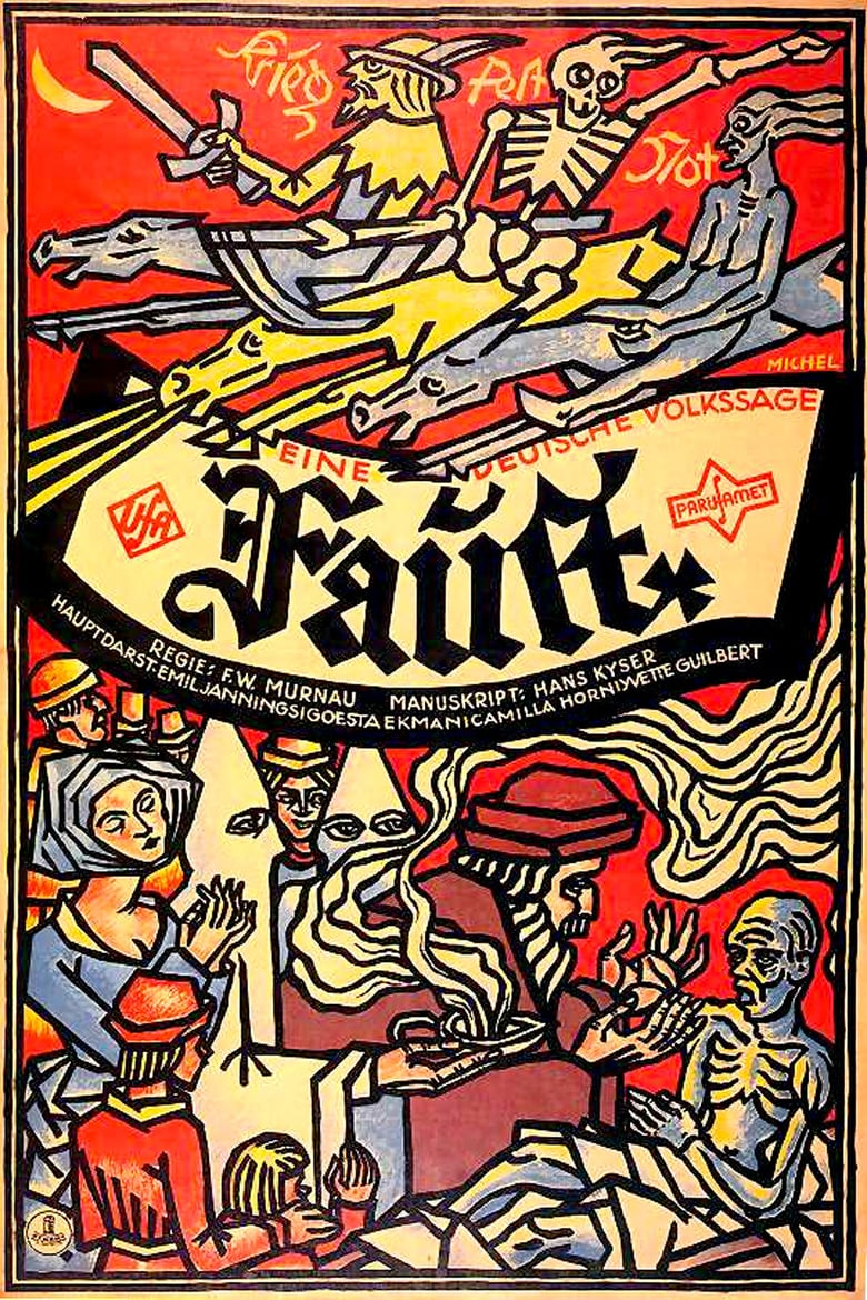 "Poster for Murnau's 12926 film ""Faust"" with original music by W. R. Heymann."