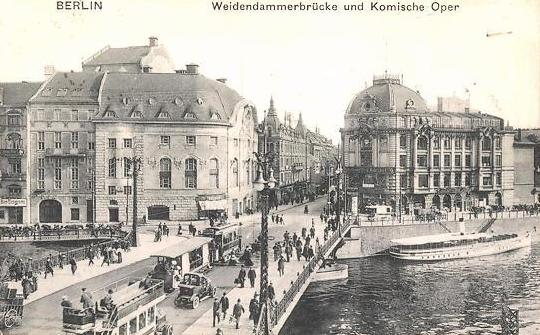 A historic postcard showing the Komische Oper in Berlin, opposite the Großes Schauspiel and next to Admiralspalast.