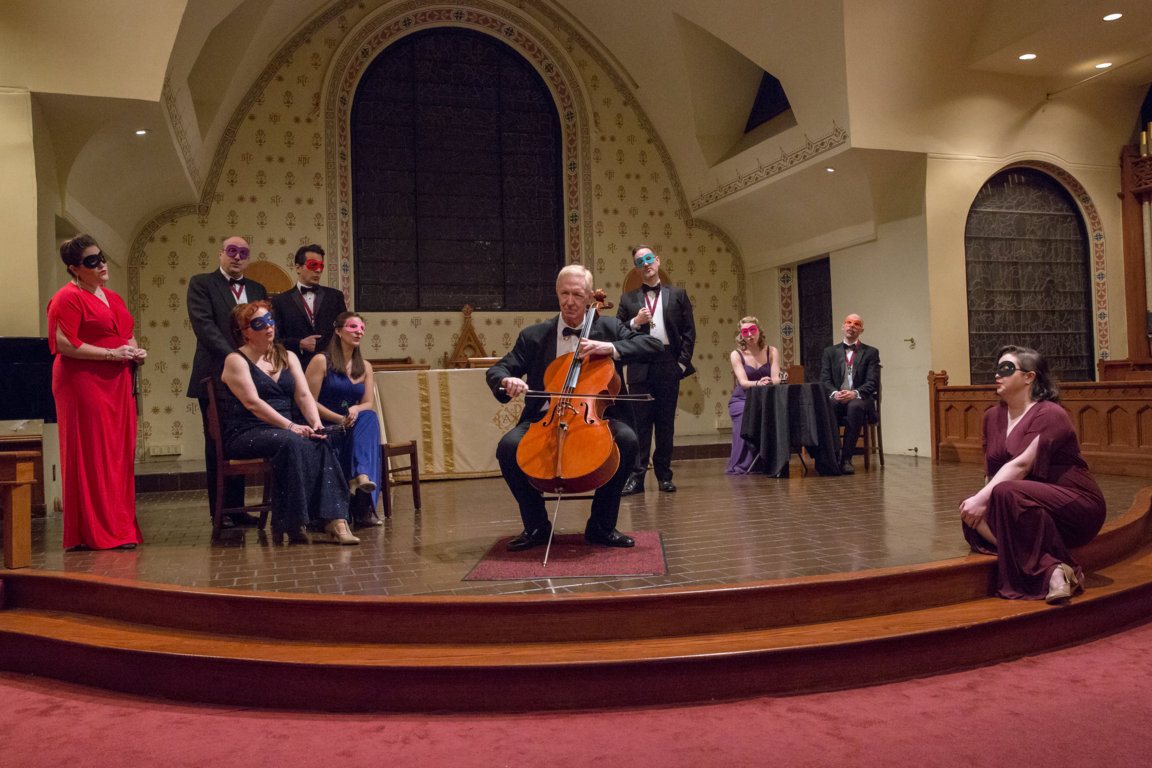 The opening to Act II, featuring cellist Scott Ballantyne. (Photo: Jill LeVine)