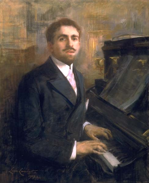 Reynaldo Hahn sitting at the piano, painted by Lucie Lambert in 1907.