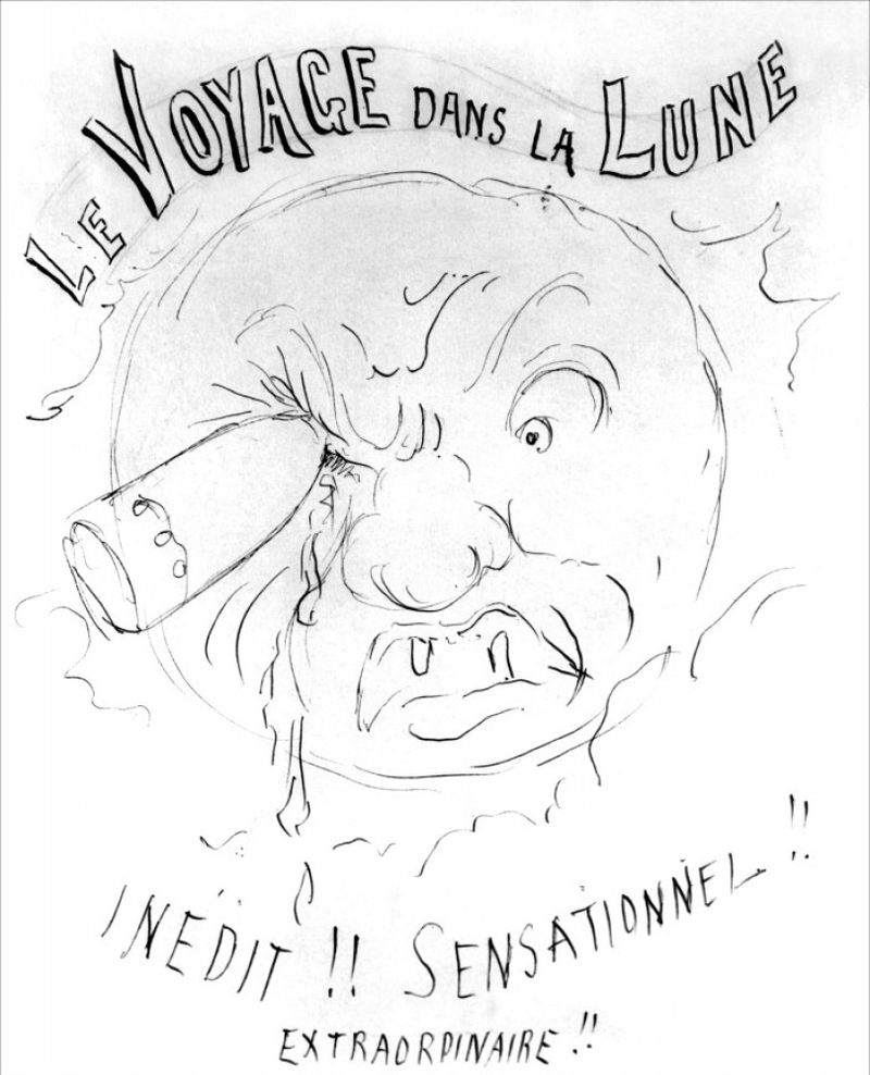 "Preliminary sketch by Georges Méliès for a poster for his film ""Le Voyage dans la Lune,"" 1902."