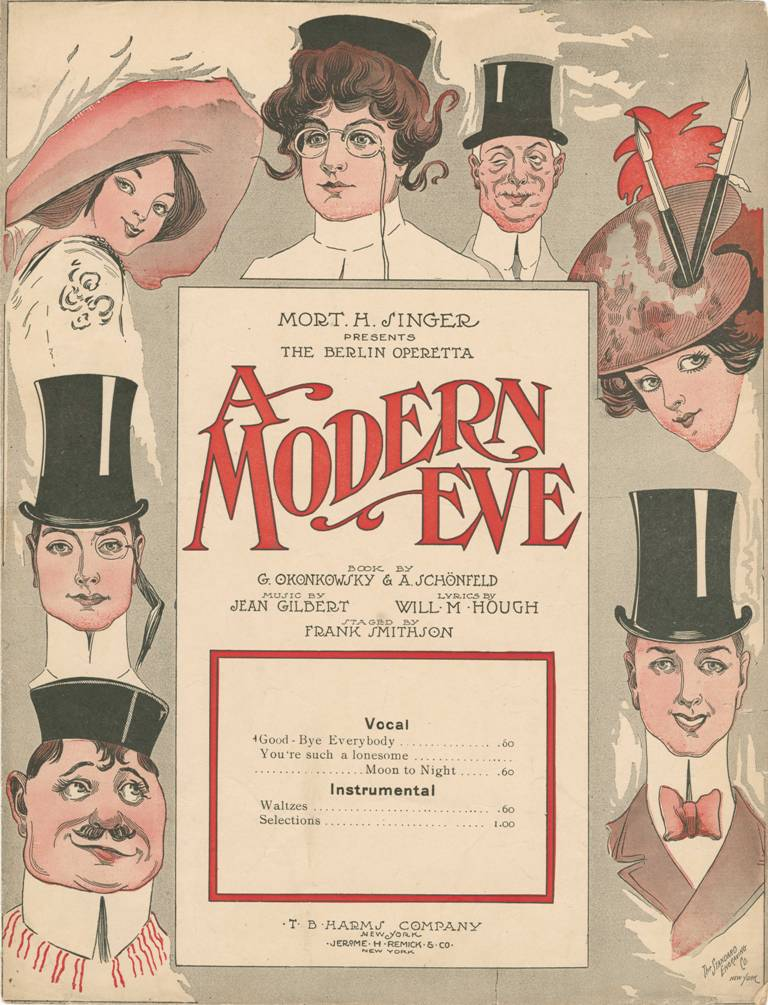 "Sheet music cover for Robert Gilbert's ""A Modern Eve,"" as seen on Broadway."