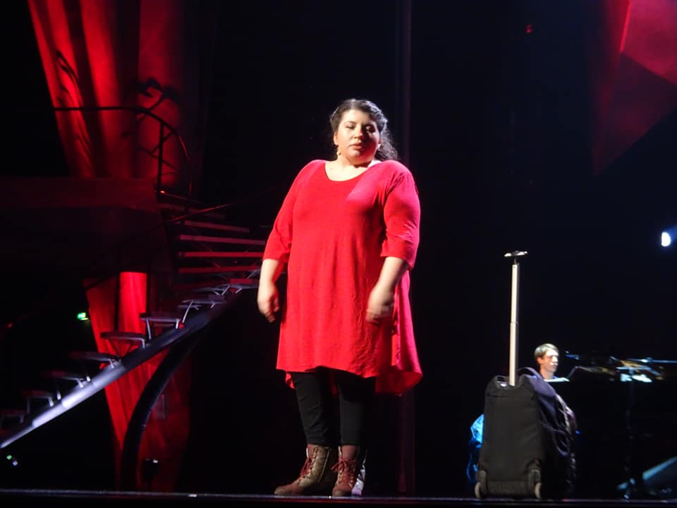 "Barbara Colceriu  singing ""ICE"" at the Bundeswettbewerb Gesang, 2019. (Photo: Petra Knickmeyer)"