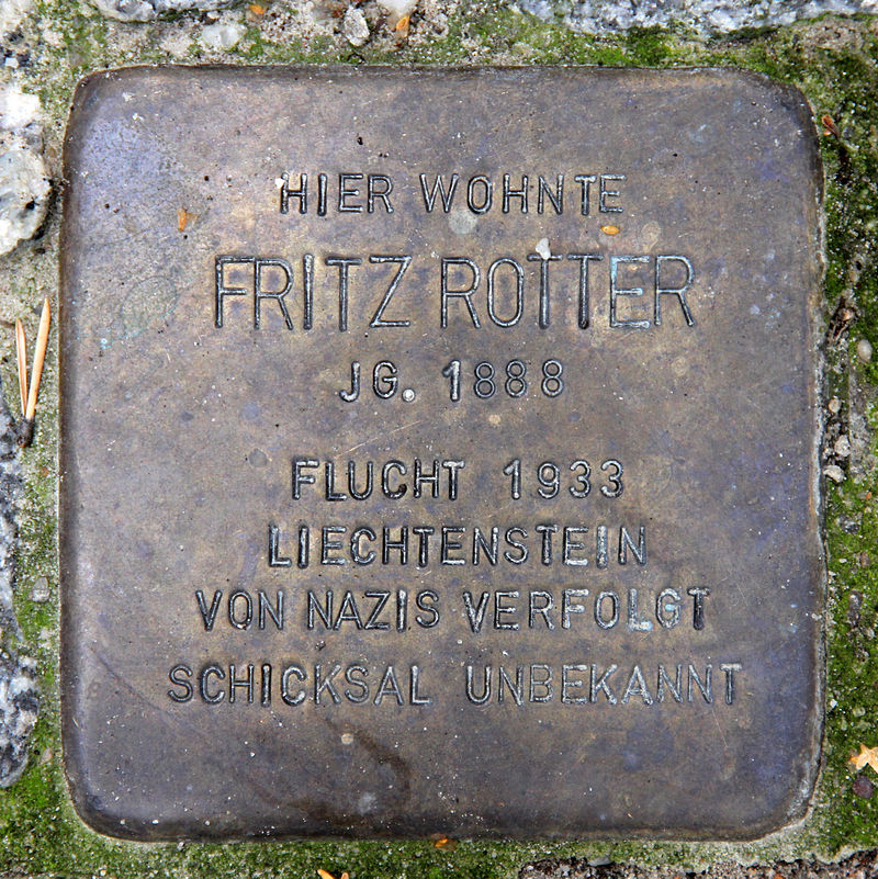 "A so called ""Stolperstein"" for Fritz Rotter in front of his villa in Berlin-Grunewald, commemorating his fate. (Photo: Wikipedia)"
