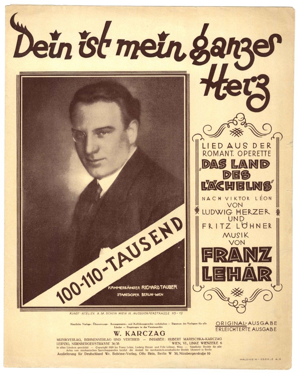 "Sheet music cover for Lehárs ""Dein ist mein ganzes Herz"" song."