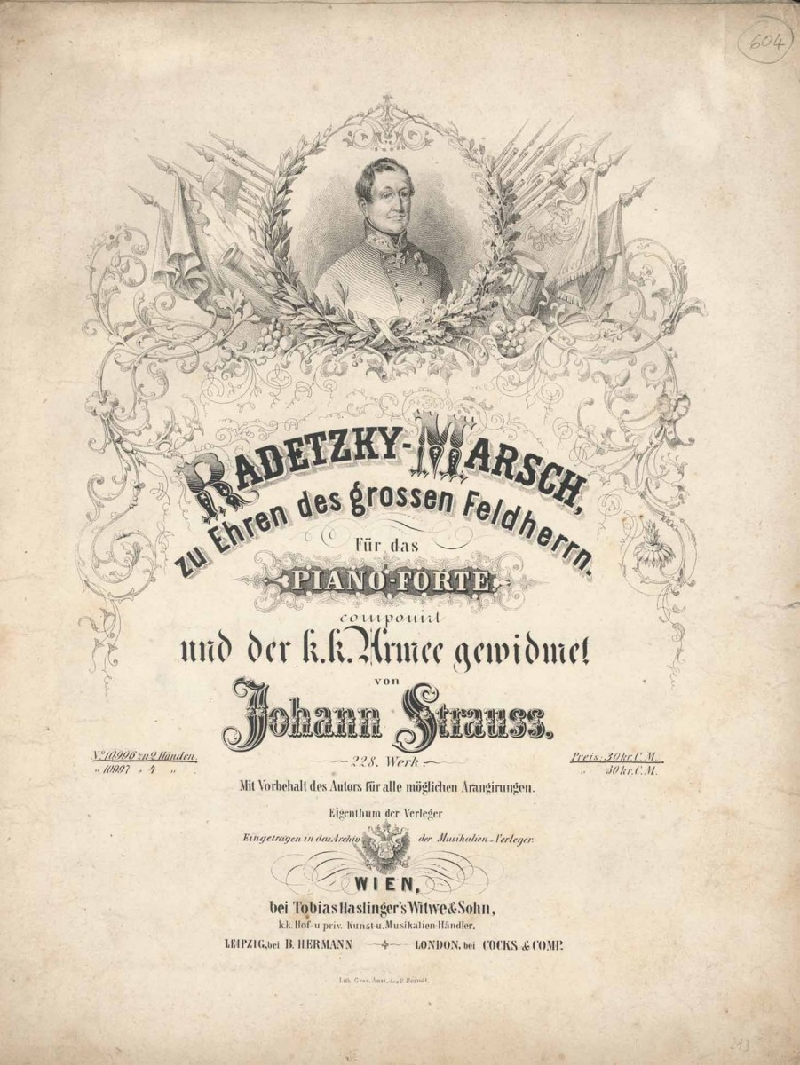 "A historic edition of the 1848 ""Radetzky Marsch"" by Johann Strauss senior."