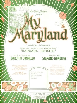 "Sheet music cover for Romberg's ""My Maryland."""