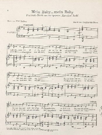 "The song from ""Kavalier Jack"" as published in a sheet music version."