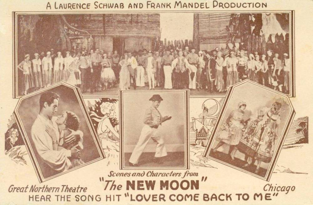 "A postcard with scenes from the Chicago production of ""The New Moon."""