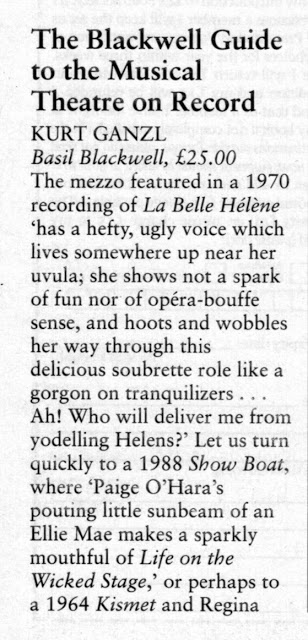 "The 1991 review of Gänzl's ""Guide to the Musical Theatre on Record"" by Charis Gray."