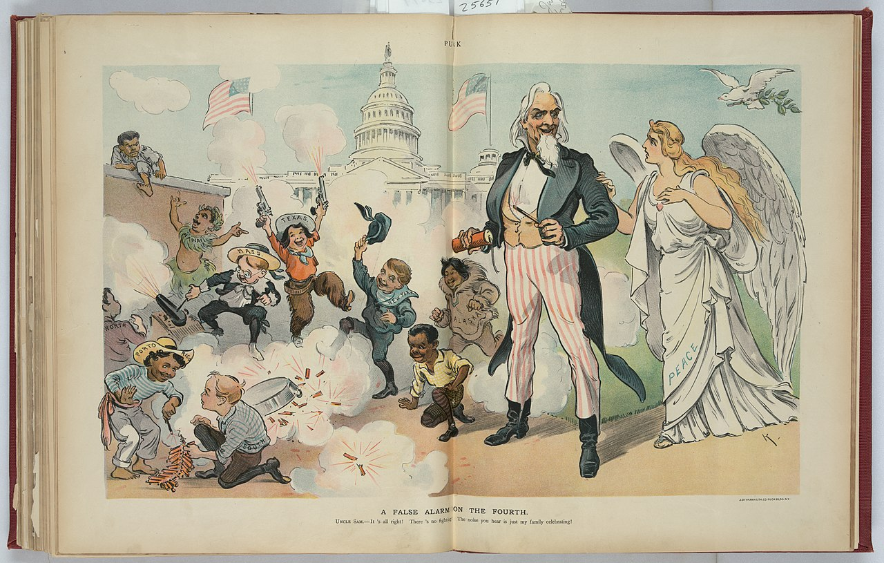 "A 1902 cartoon from the magazine ""Puck"" celebrating the Fourth of July and  ethnic pluralism in the USA. The caption reads: ""A False Alarm on the Fourth"" Uncle Sam tells Lady Peace: 'It's all right. There's no fighting. The noise you hear is just my family celebrating!'"""