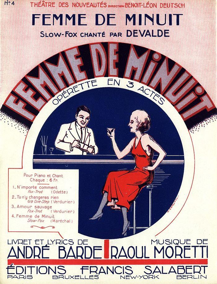 """Notendeckblatt mit dem Titelsong aus """"Femme de minuit."""" (Photo: Design von Henri Cerutti)"""