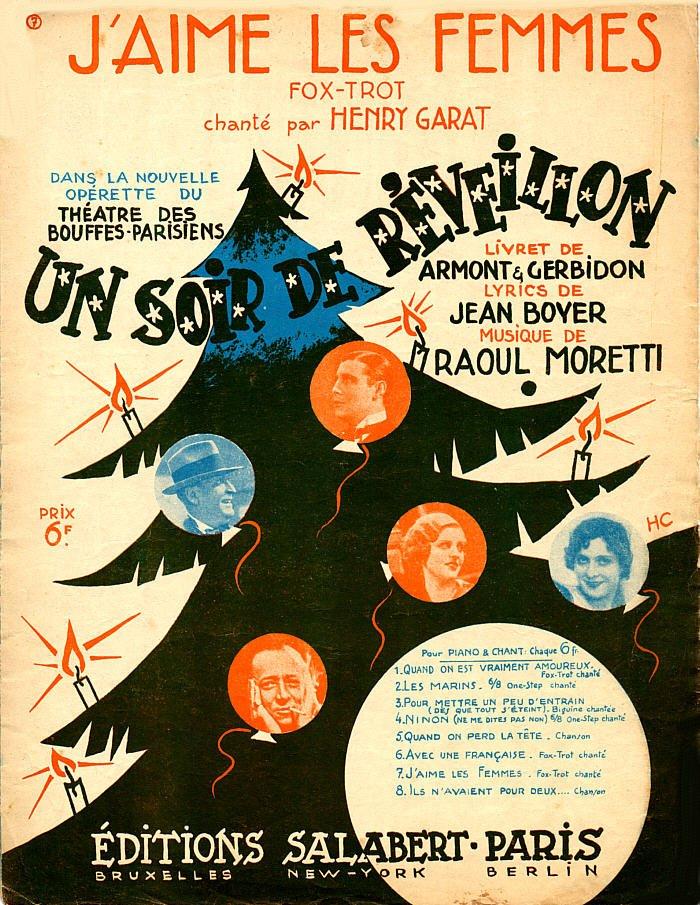 """Notendeckblatt mit einem Lied aus """"Un soir de réveillon."""" (Photo: Design von  Henri Cerutti)"""