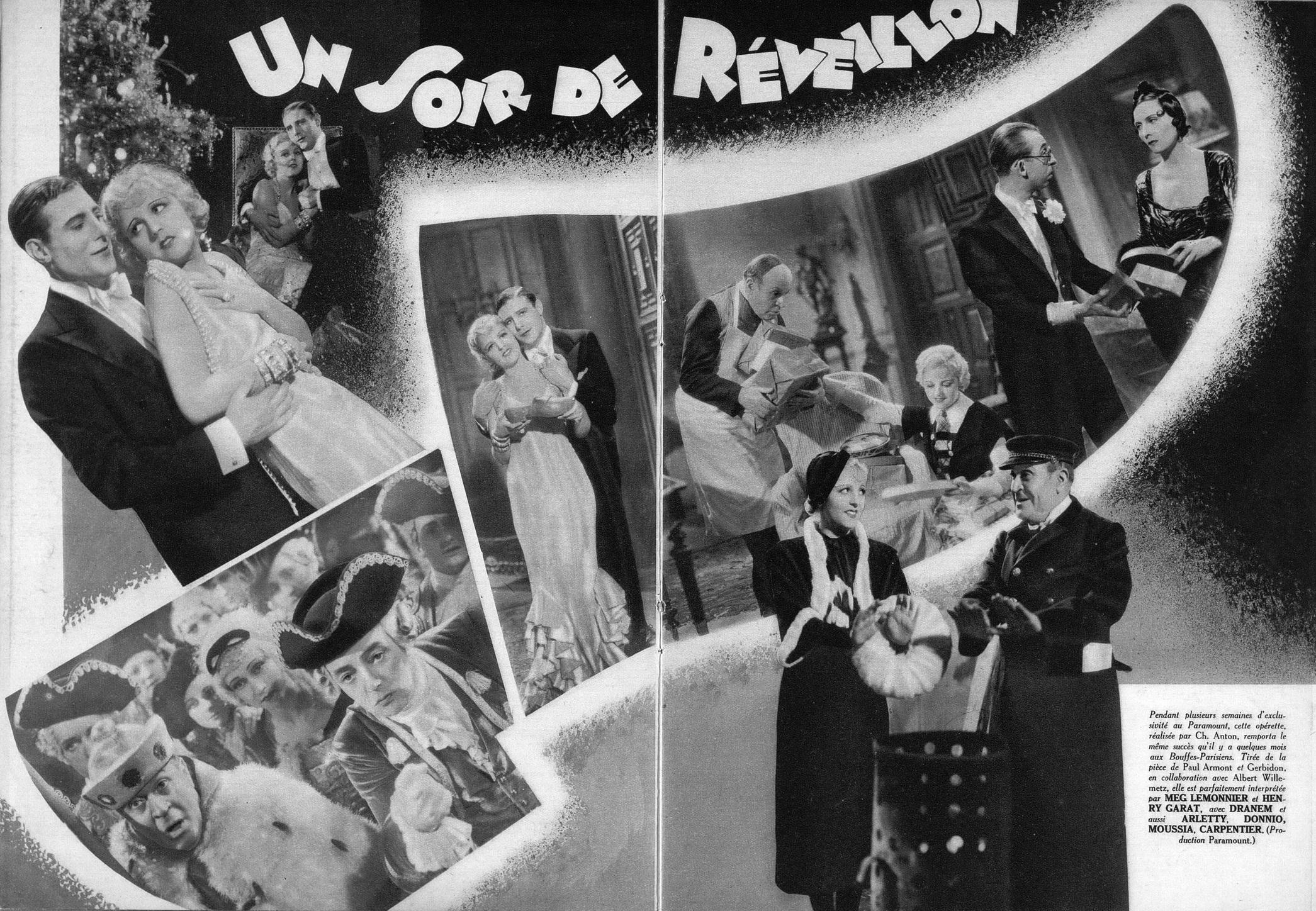 """Szenen aus der Filmversion von """"Un soir de réveillon."""" (Photo: Ciné Magazine, 1933)"""