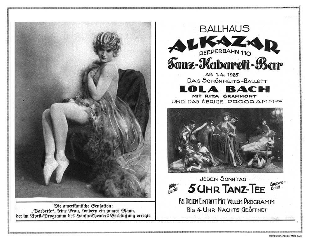 "Lola Bach was taken to court in 1921 for  ""offending public decency"" with her ""beauty ballets."" (Photo: Page from Hamburger Anzeiger, 1925)"
