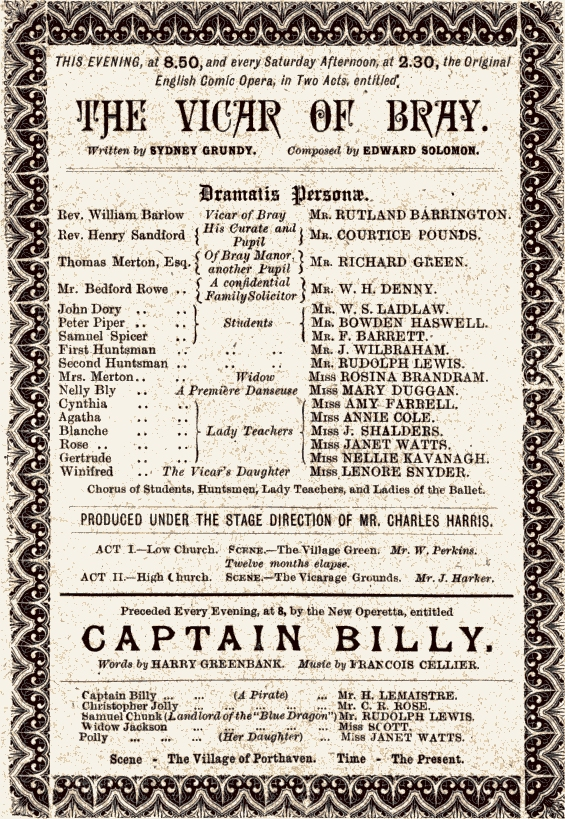 "Savoy Theatre program for double bill of ""Captain Billy"" and ""The Vicar of Bray,"" 1892."