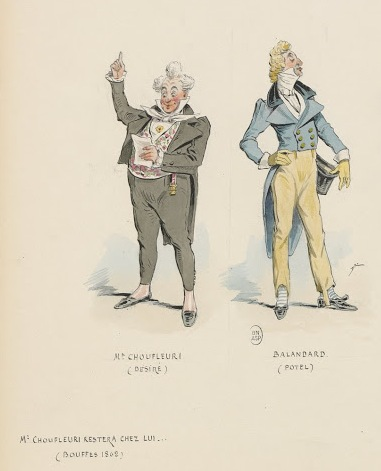 "Costume designs for Offenbach's ""Monsieur Choufleuri"" with Potel on the right side. (Photo: Collection of Kurt Gänzl)"