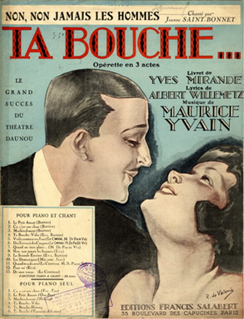 """Notendeckblatt zu Yvains """"Ta Bouche"""". (Photo: Design von Roger de Valerio)"""