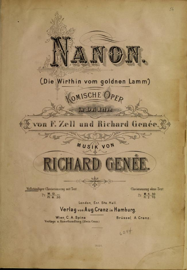 "The music for Genée's ""Nanon."""