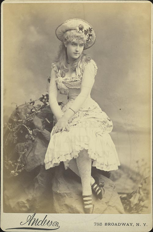 """1882 photo of Lillian Russell in the Bijou Opera House production of Gilbert and Sullivan's """"Patience."""" (Photo: Anderson)"""