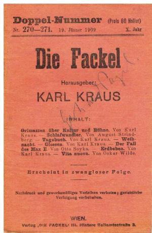 """Die """"Fackel""""-Ausgabe vom 19. Jänner 1909."""