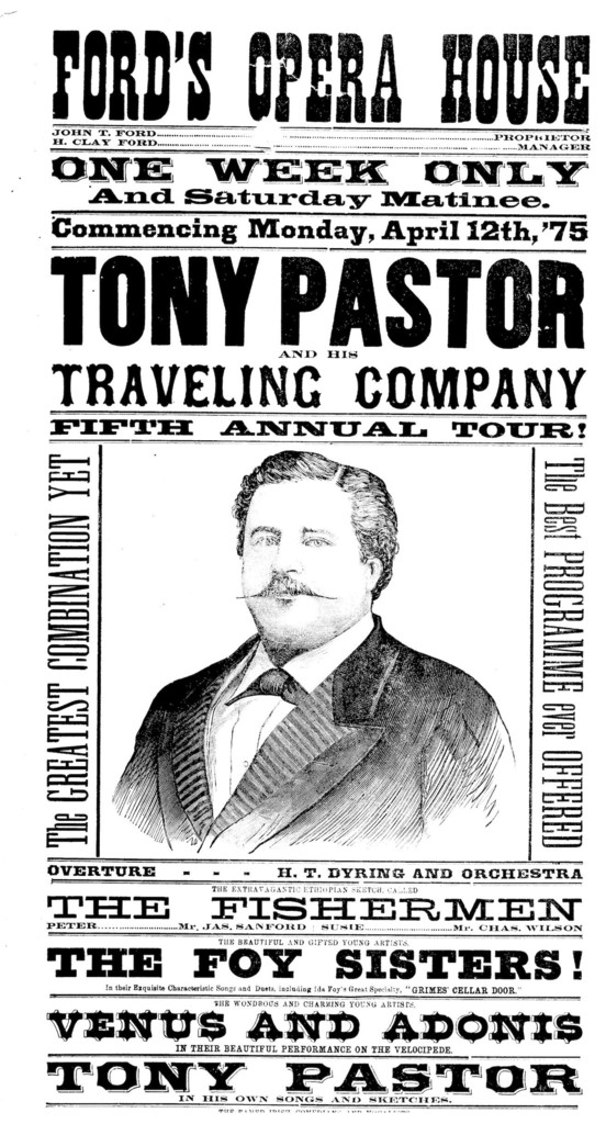 Advertisement for Tony Pastor's traveling company.
