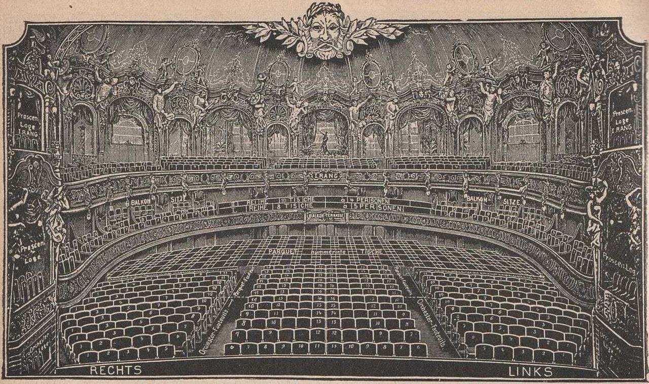 Looking at the seating of Metropoltheater in Berlin in 1912.