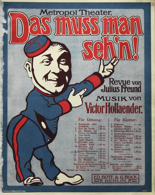 "Sheet music cover for the Victor Hollaender revue ""Das muss man seh'n!"""