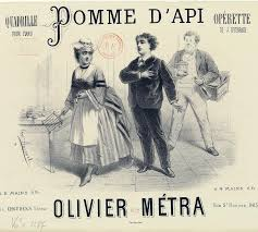 "Sheet music cover for a quadrille arrangment of Offenbach's ""Pomme d'Api."""