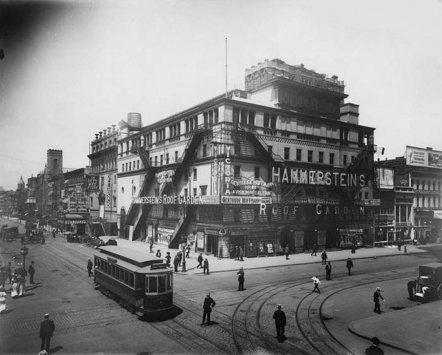Hammerstein's Victoria Theatre was opened on March 3, 1899 by theatre baron Oscar Hammerstein. The Victoria Theatre also had a roof garden which abutted The Republic Theatre.