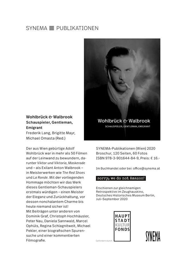 The new book on Adolf Wohlbrück, sponsored by Hauptstadt Kulturfonds.