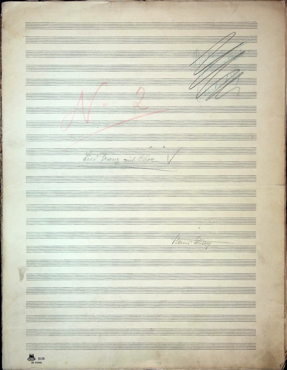 "Another page from the orchestral material of ""Die tanzende Stadt."" (Photo: Thomas Krebs Archive)"