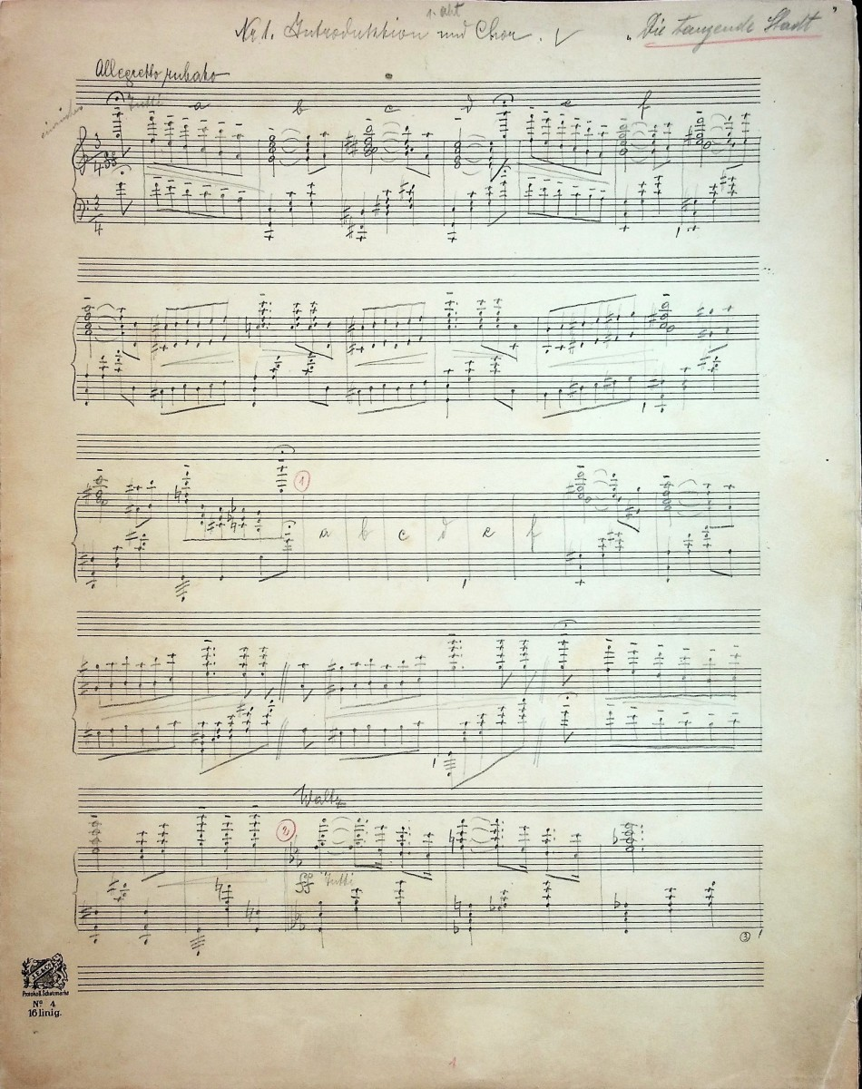 "A page from the orchestral material of ""Die tanzende Stadt."" (Photo: Thomas Krebs Archive)"