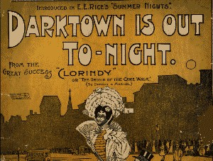 "Playbill from 1898 showing Edward E. Rice's production of ""Clorindy,"" featuring the song ""Darktown is Out Tonight."""