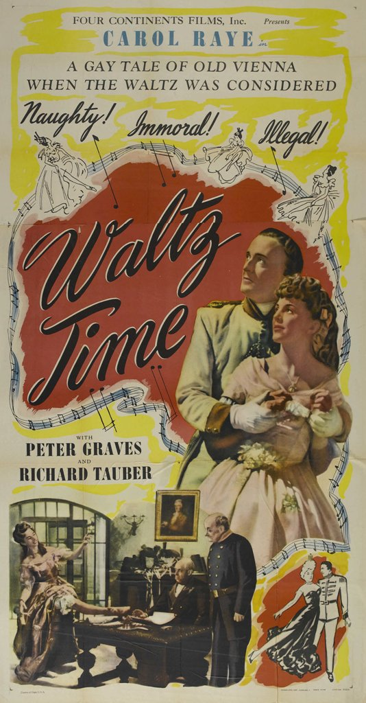 "Poster for the movie ""Waltz Time§ starring Richard Tauber. It promises to be ""naughty, immoral, and illegal""!"