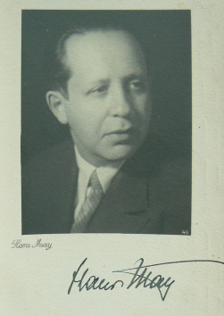 A signed postcard showing composer Hans May. (Photo: Gregory Harlip)